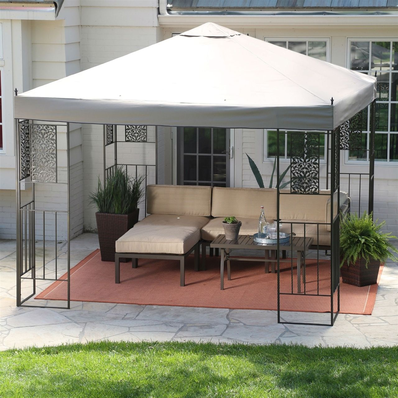 10 x 10-ft Backyard Patio Garden Gazebo, Steel Frame, Vented Canopy