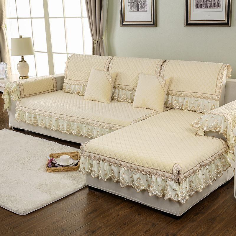 100% Polyester Fabric Sofa Cover European Lace Design Slip-Resistant Sofa Armres…