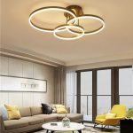 1/2/3 Circles Ring LED Semi Flush Ceiling Light in Black/Chocolate for Living Room