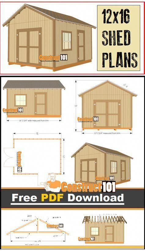 12×16 Shed Plans – Gable Design – PDF Download – Construct101