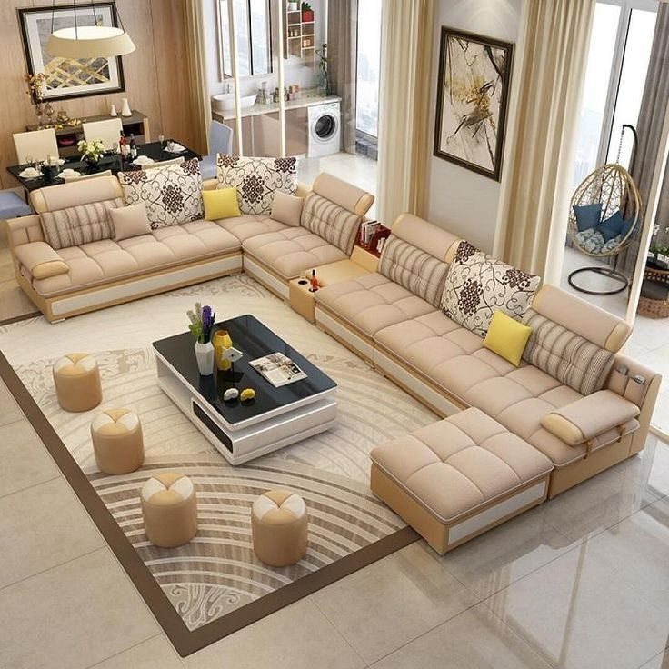 Luxury Modern U Shaped Leather Fabric Corner Sectional Sofa Set Design Couches For Living Room With Ottoman – worldefashion.com/decoration