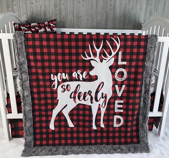 Baby Nursery Bedding Set , Baby , Woodland , Buck, Little Man , Lumberjack , Deer   , Buffalo  Plaid , Baby Bedding , Babylooms Crib Bedding
