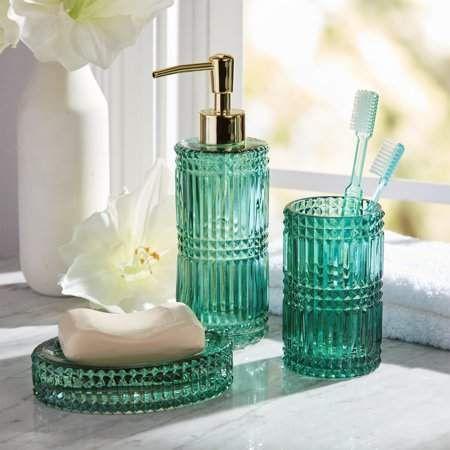 3 Piece Glass Bath Accessory Set by Drew Barrymore Flower Home – Walmart.com