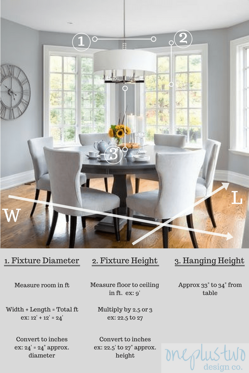 A Guide to Hanging your Dining Room LIght Fixture | oneplustwo design co