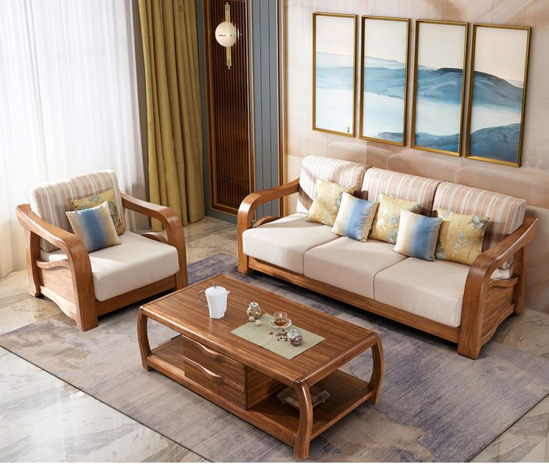 Latest Fabric Sofa Set Living Room Furniture Pictures of Wooden Sofa Designs – C…