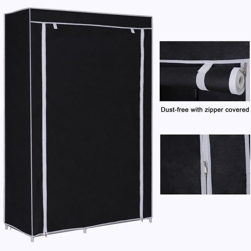 64inch Portable Closet Storage Organizer Wardrobe Clothes Rack With Shelves Black DIY Non-woven Fold Portable Storage Furniture