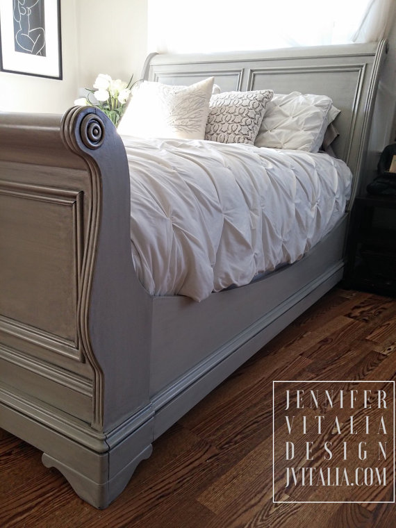 Classic Custom Order Sleigh Bed Hand Painted Romantic Bed-Frame. Endless Color Variations.