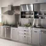 Super Modern Stainless Steel Kitchen Cabinet Design For Cozy Kitchen Ideas 50