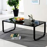 BLACK GLASS COFFEE Table White High Gloss MDF with 2 Storage Drawers Living Room...