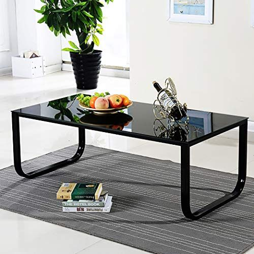 BLACK GLASS COFFEE Table White High Gloss MDF with 2 Storage Drawers Living Room…