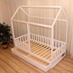 Painted toddler bed, children bed, Montessori bed, kid bed, wood bed, children home, waldorf toy, nursery crib, kids bedroom, floor bed