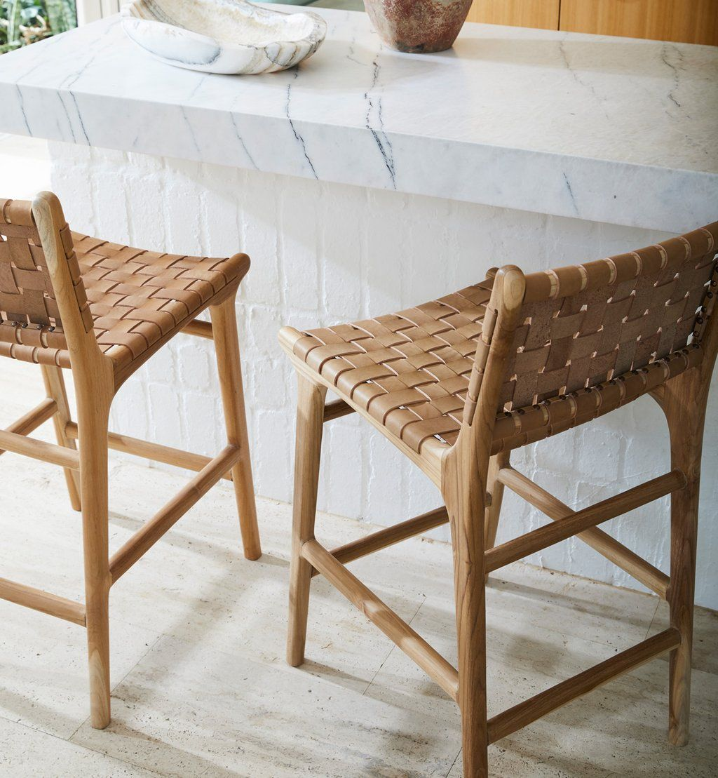 Leather Strapping Bar Stool with Back in Teak & Tan