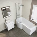 1700x850mm - Left Hand P-Shaped Bath Screen, Rail & Front Panel (Excludes End Panel) | soak.com