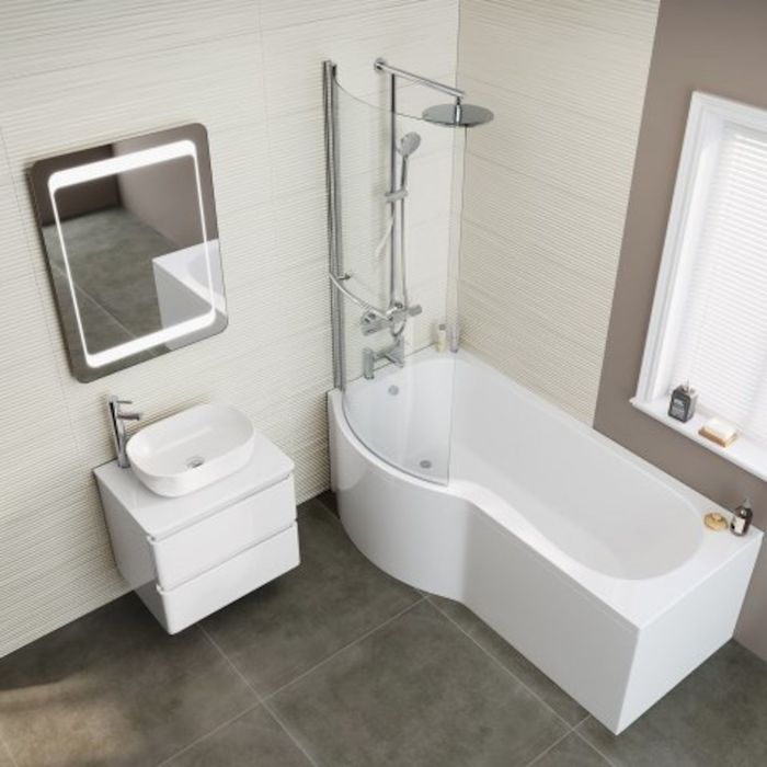 1700x850mm – Left Hand P-Shaped Bath Screen, Rail & Front Panel (Excludes End Panel) | soak.com