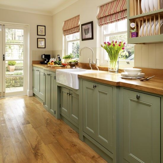 1800 Style Kitchen | Green-painted-kitchen-galley-furniture-Beautiful-Kitchens-H…