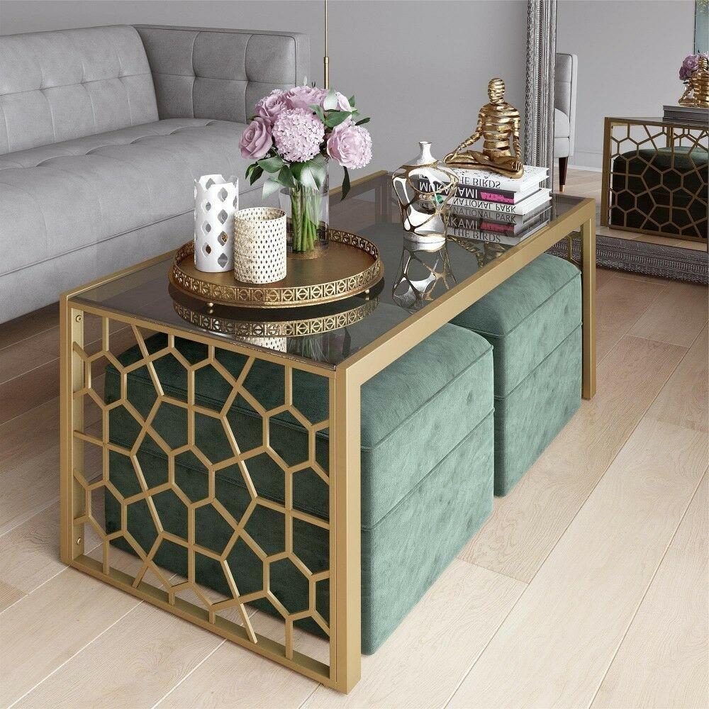 2 Modern Ottoman Glass Metal Coffee Table Set Rectangle Living Room Furniture #C…