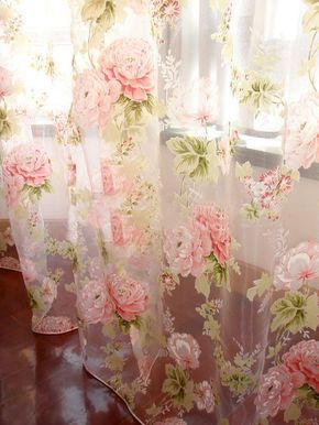 2 PCS Charming Country Style Pink Flower Sheer Voile Curtain Panel Drape  | eBay