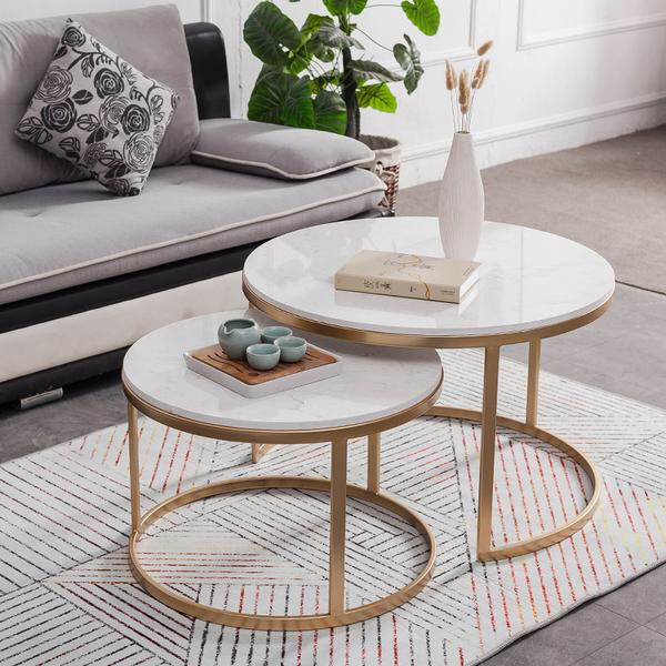 2 Pieces Nest Coffee Table, Marble Top with Stainless Steel Frame