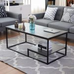 2-Tier Modern Wood & Steel Coffee Table