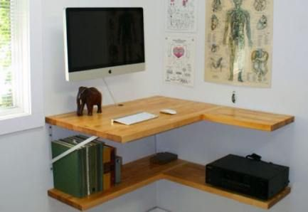 26+ Super Ideas For Wall Shelves Corner Desk Space