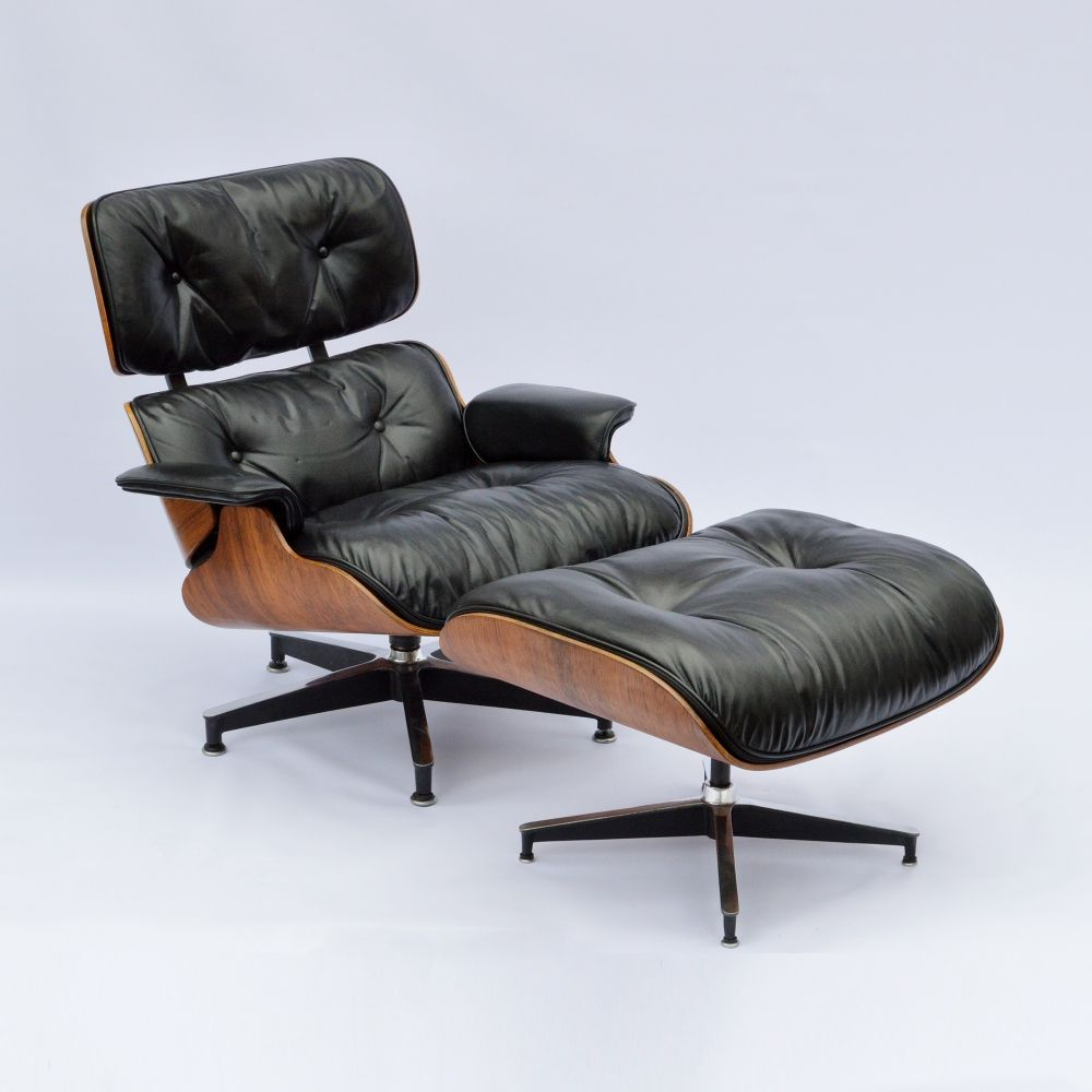 2nd Generation Eames Lounge Chair + Ottoman with new down inlays | #92247