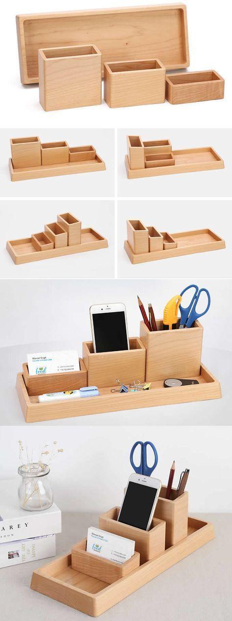 4 Compartments Wooden Office Desk Organizer Collection Smart Phone Dock Holder Pen Pencils Ho…
