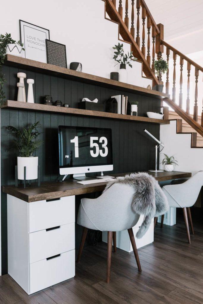 $40 DIY Wood Desktop [& Matching Floating Shelves] – Love Create Celebrate