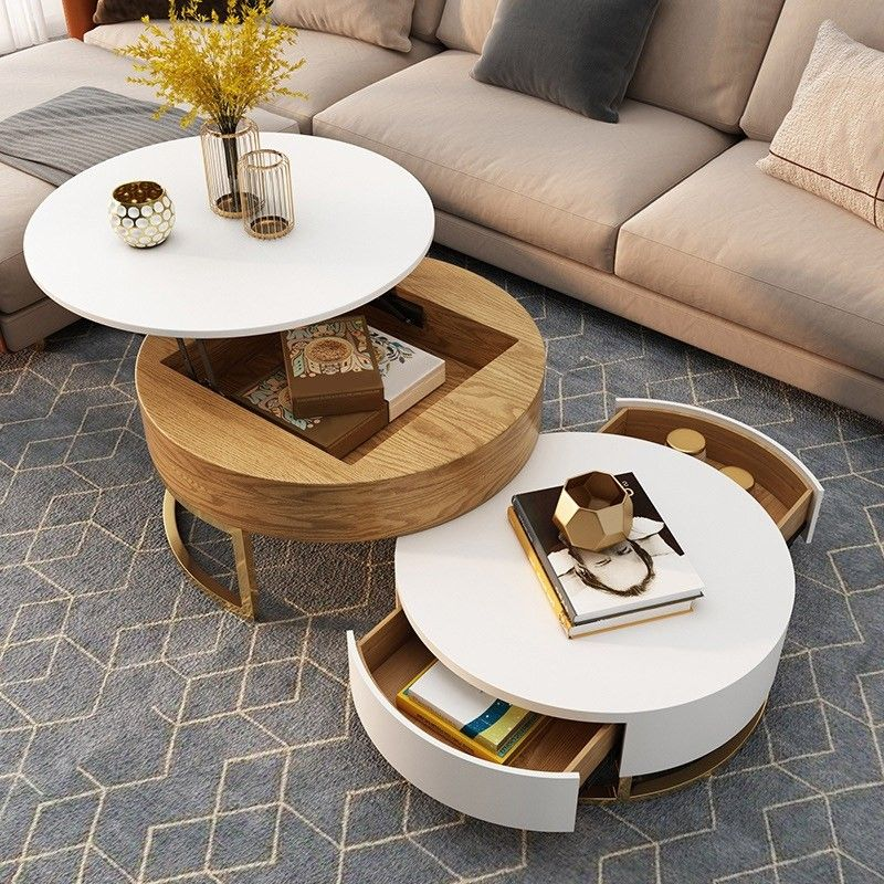 $498.99 Modern Round Coffee Table with Storage Lift-Top Wood Coffee Table with Rotatable Drawers