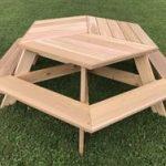 56'' Hexagonal Cedar Picnic Table w/ All-Around Seating