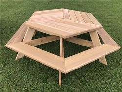 "56"" Hexagonal Cedar Picnic Table w/ All-Around Seating"
