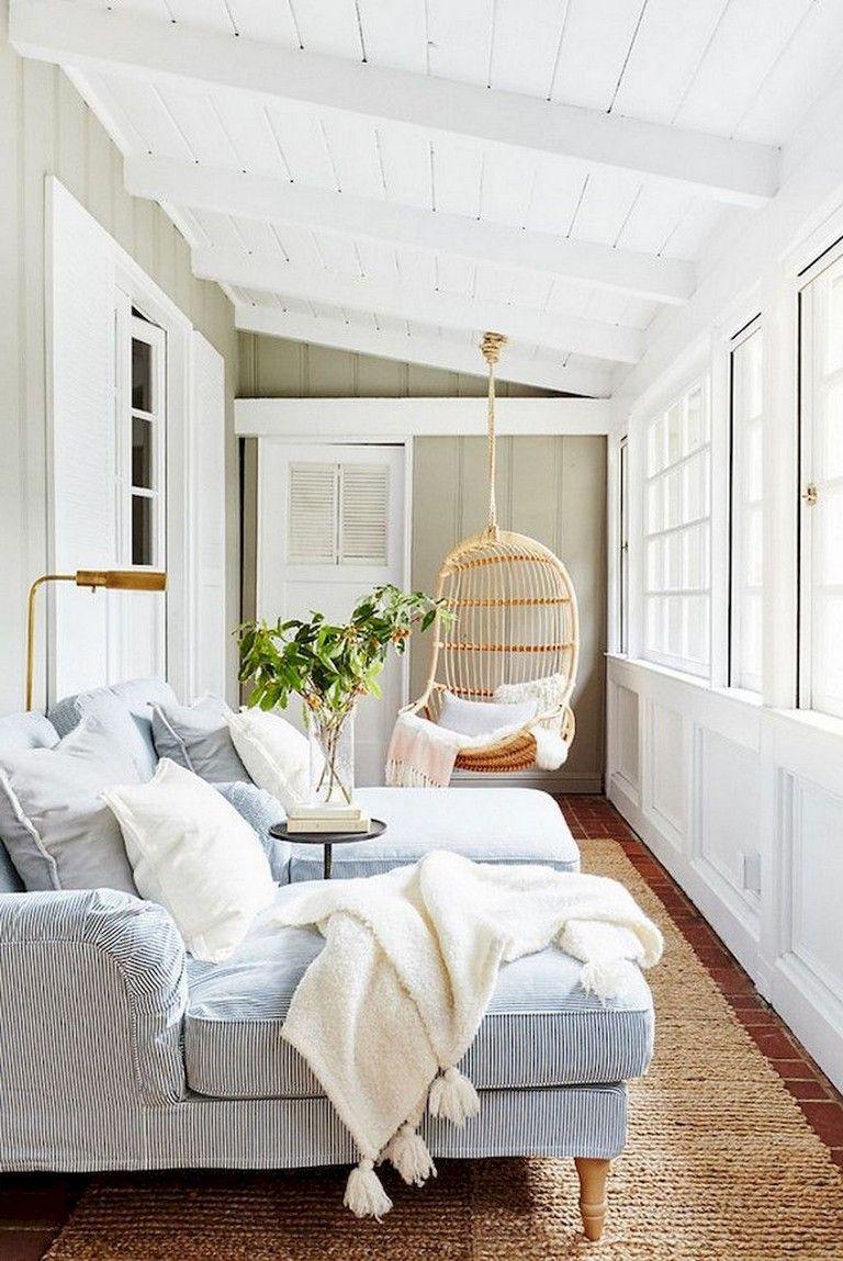 58+ Comfy Farmhouse Sunroom Makeover Decor Ideas