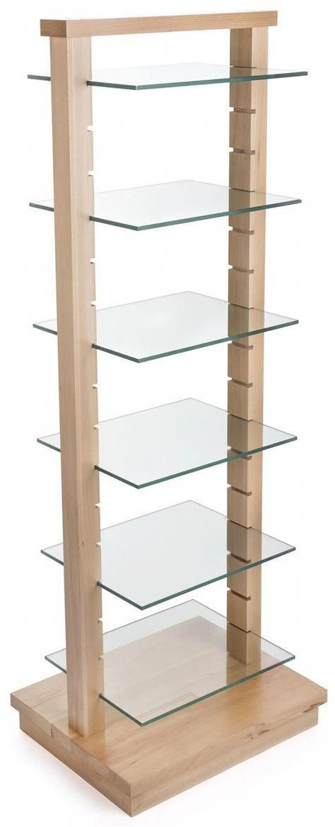 66.5″ Tiered Wooden Display with 6 Removable Glass Shelves, Open Design – Natural