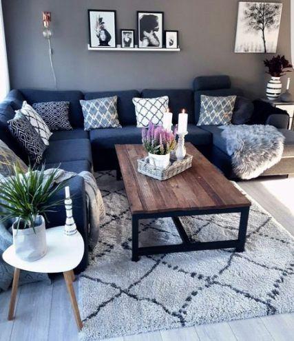 67+ Ideas living room black grey blue