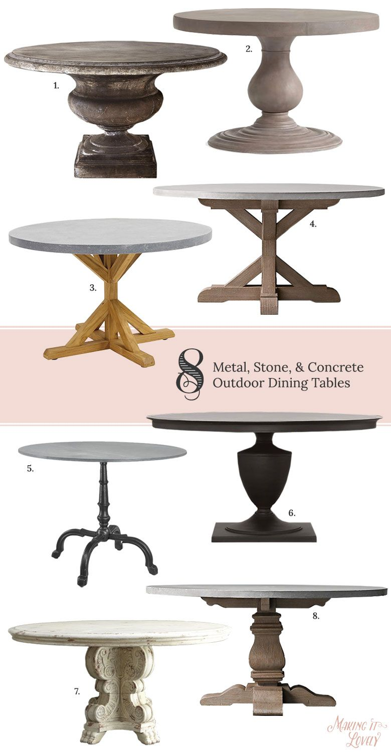 8 Round, Solid-Topped Metal, Stone, and Concrete Outdoor Pedestal Dining Tables …