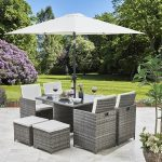 8 Seater Rattan Cube Dining Set with Parasol - (Grey Weave)