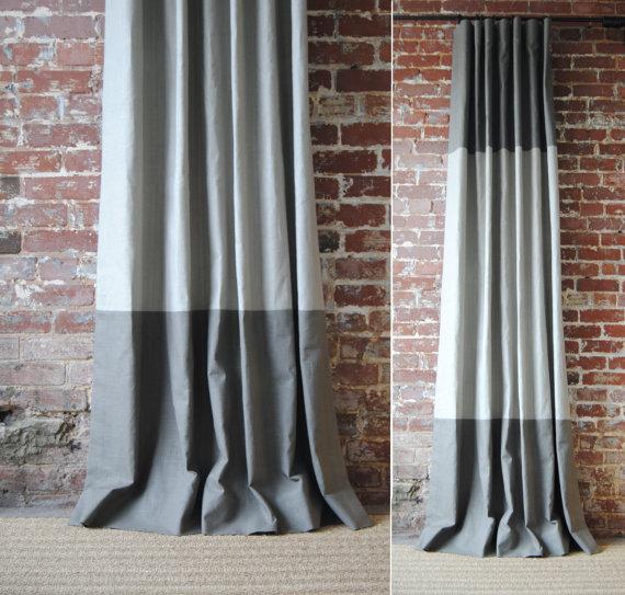 84″L – Martha Panel – custom curtains – 28 color options – striped panels – color block panels