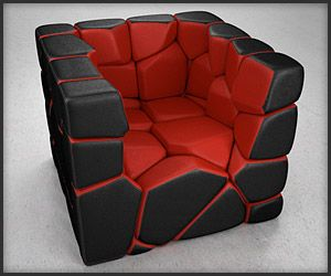 A chair made up of segments held together with magnets that can be rearranged to…