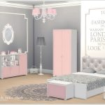 A set of furniture, decor and construction objects for the bedroom of a young gi...