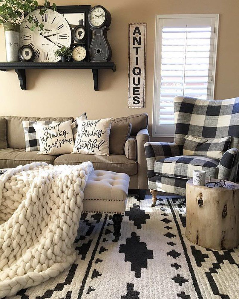 """ANTIQUE FARMHOUSE on Instagram: """"#📷 @desertdecor What's got gorgeous style, beautiful black and white detailing, and comfy-cozy vibes too? This amazing living space! We…"""""""