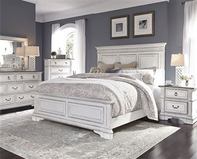 Abbey Park Panel Bed 6 Piece Bedroom Set in Antique White Finish by Liberty Furniture – 520-BR-QPBDMN