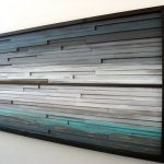 Abstract Wood Wall Art of Ocean Landscape Painting, Modern Rustic Art