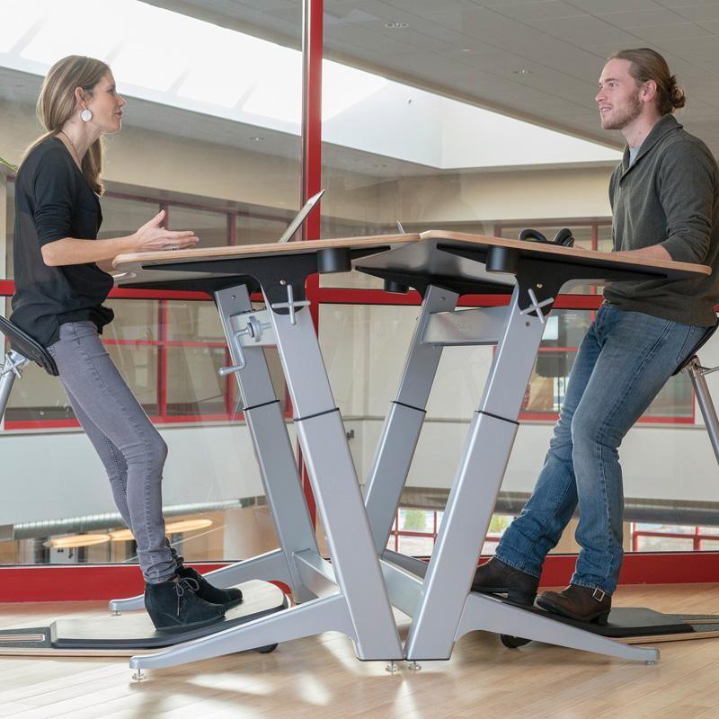 Adjustable-Height Desk with Adjustable-Angle Worktop