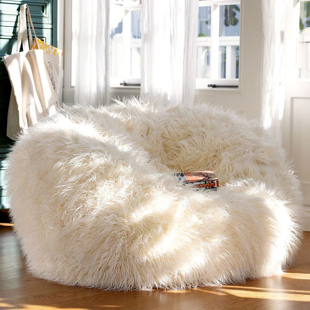 Adorable White Fur Bean Bag Chair For Teen Girl : Extraordinary Cute and Comfort…