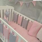 Amazing Pink and Grey Chevron Bar Bumper Cot Bedding Set | India Rose Baby Bouti...