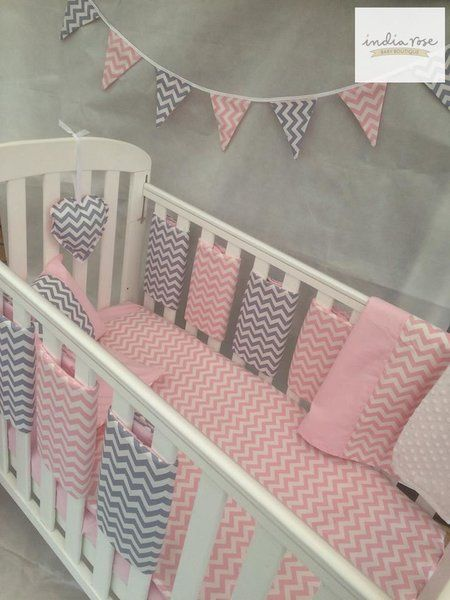 Amazing Pink and Grey Chevron Bar Bumper Cot Bedding Set | India Rose Baby Bouti…