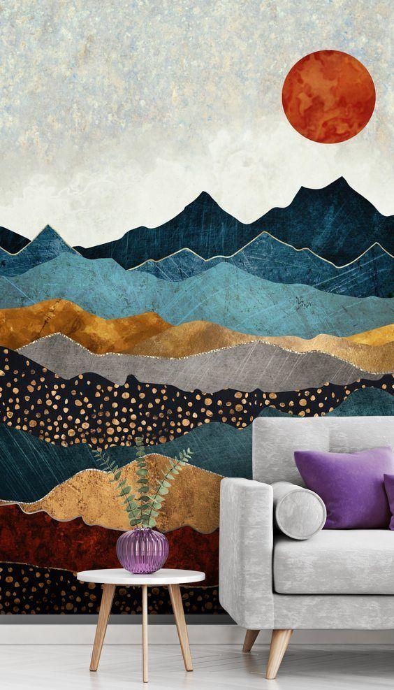 Amber Dusk Wall Mural by SpaceFrog Designs | Wallsauce US