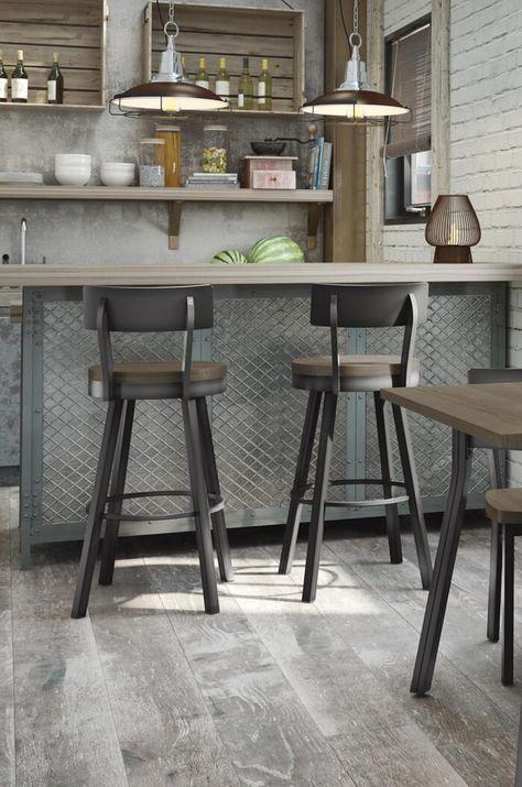 Amisco's Lauren Swivel Counter Stool w/ Distressed Wood Seat