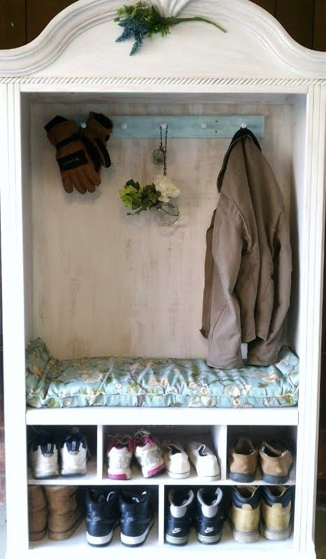 An old TV Armoire I turned into a coat/shoe organizer w/bench. Removed the shelf… – pickndecor.com/furniture