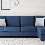 Andrea L Shape Sofa in Navy Blue Color, L Type Sofa - Zapwood Enterprise, Bengal...
