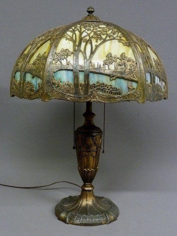 Antique Slag Glass Lamps